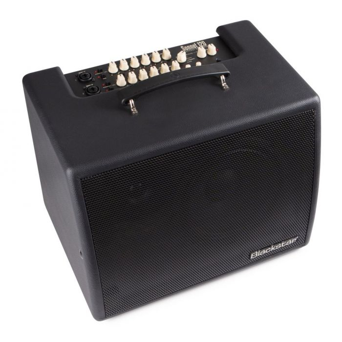 Front right angled view of a Blackstar Sonnet 120 Black Acoustic Combo Amplifier