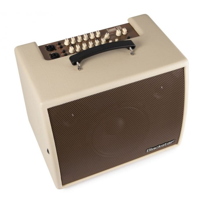 Front right angled view of a Blackstar Sonnet 120 Blonde Acoustic Combo Amplifier