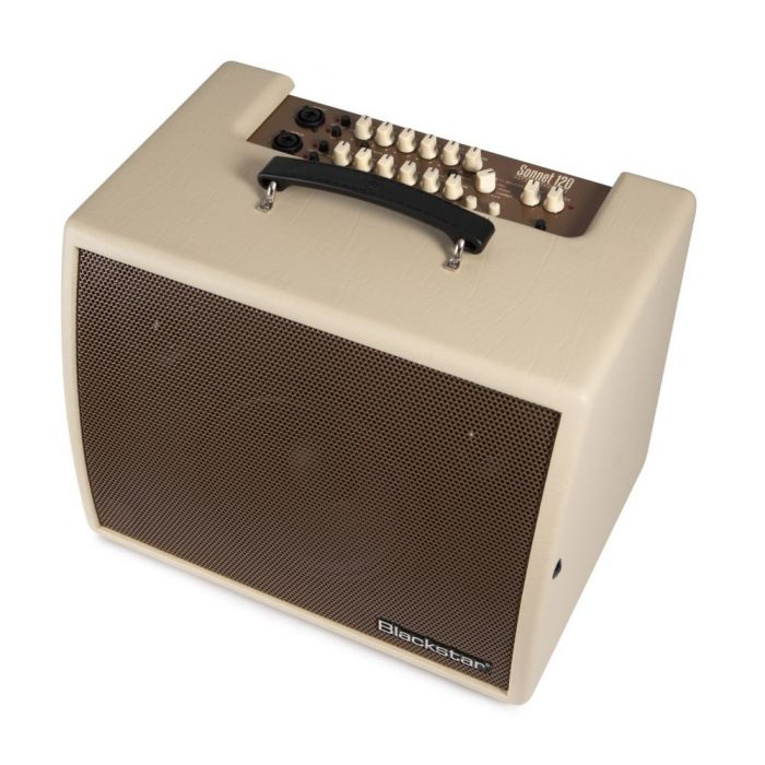 Front left angled view of a Blackstar Sonnet 120 Blonde Acoustic Combo Amplifier