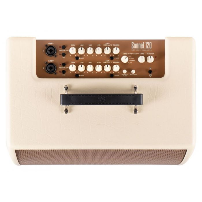 Top down view of the control panel on a Blackstar Sonnet 120 Blonde Acoustic Combo Amplifier