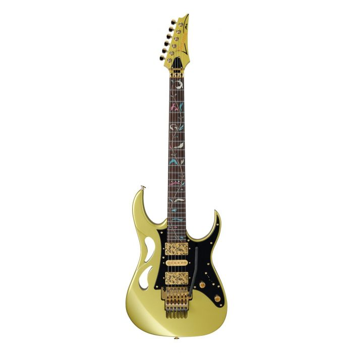 Full frontal view of a Ibanez Steve Vai Signature PIA Sun Dew Gold
