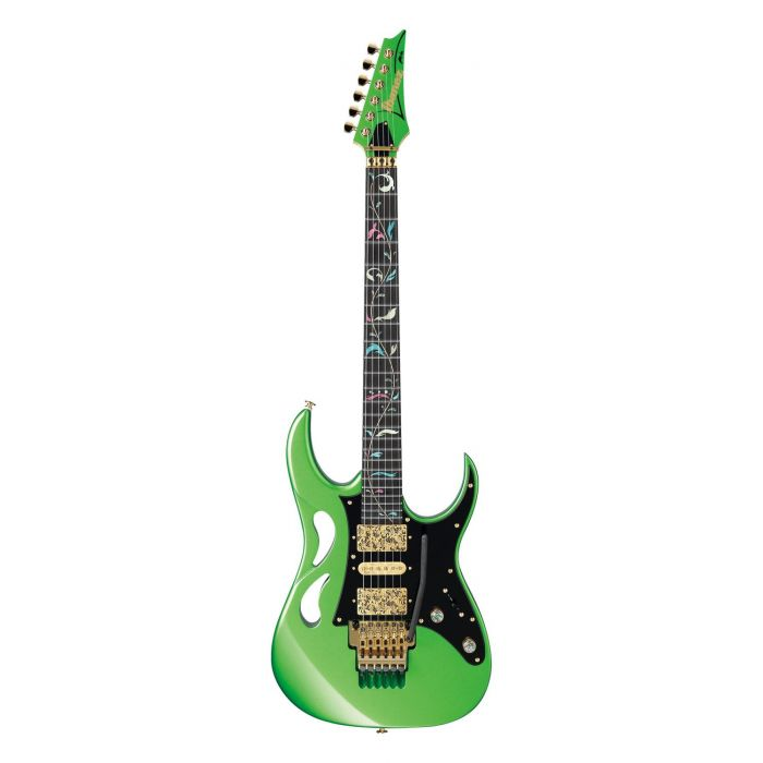 Full frontal view of a Ibanez Steve Vai Signature PIA Envy Green