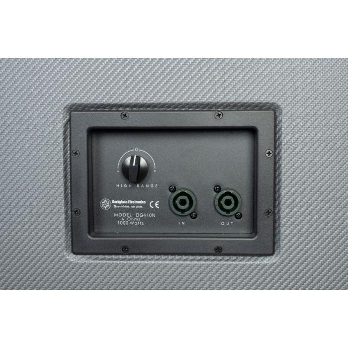 Closeup of the inputs panel on a Darkglass Electronics D410N Lightweight 410 Bass Cabinet