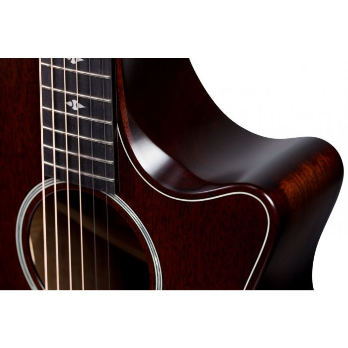 Closeup opf the cutaway on a Taylor Builders Edition 324ce Electro Acoustic Guitar