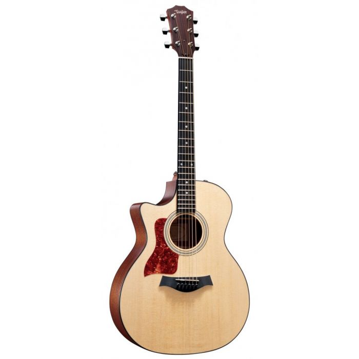 Full frontal view of a Taylor 314CE Left Handed Grand Auditorium Cutaway electro acoustic guitar