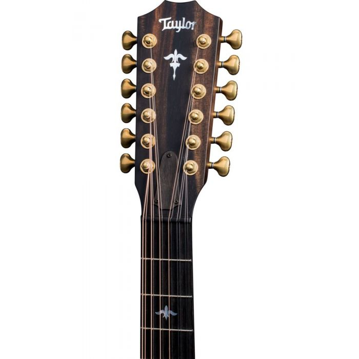 Frotn view of the headstock on a Taylor Builders Edition 652ce WHB 12-String Electro Acoustic