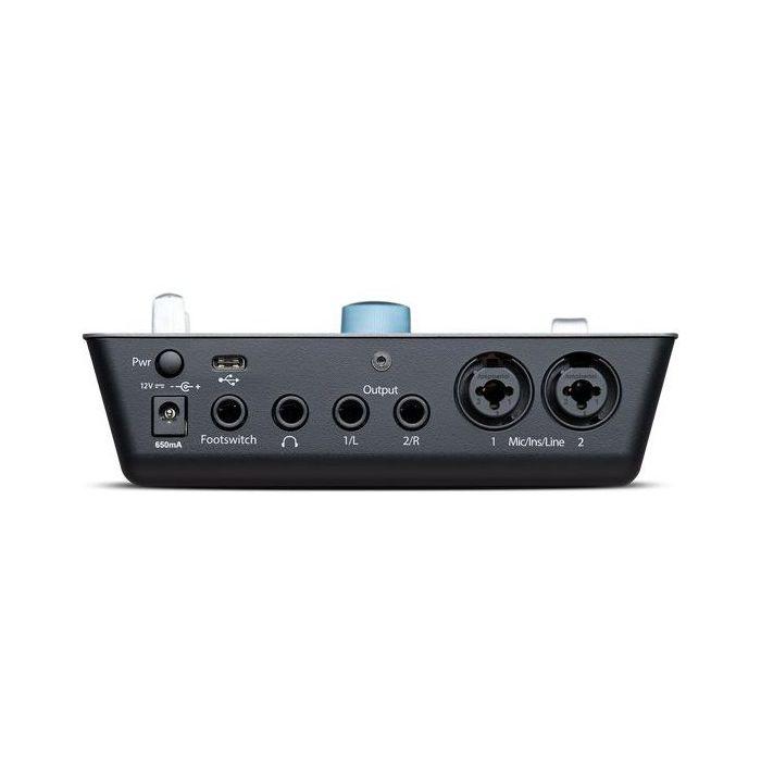 Closeup of the input panel on a PreSonus IOSTATION 24C 2x2 USB-C Audio Interface