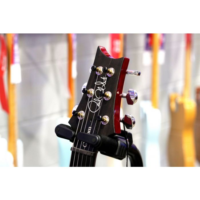 Front view of the headstock on a PRS Ltd Edition Custom 24 Charcoal Cherryburst, Ebony FB