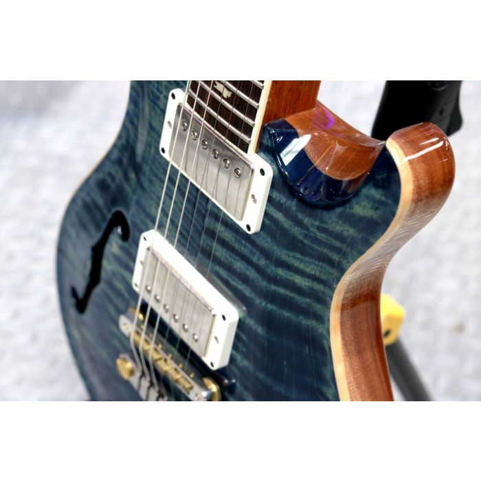 Front angled closeup of a PRS McCarty 594 Semi-Hollow Limited Edition River Blue