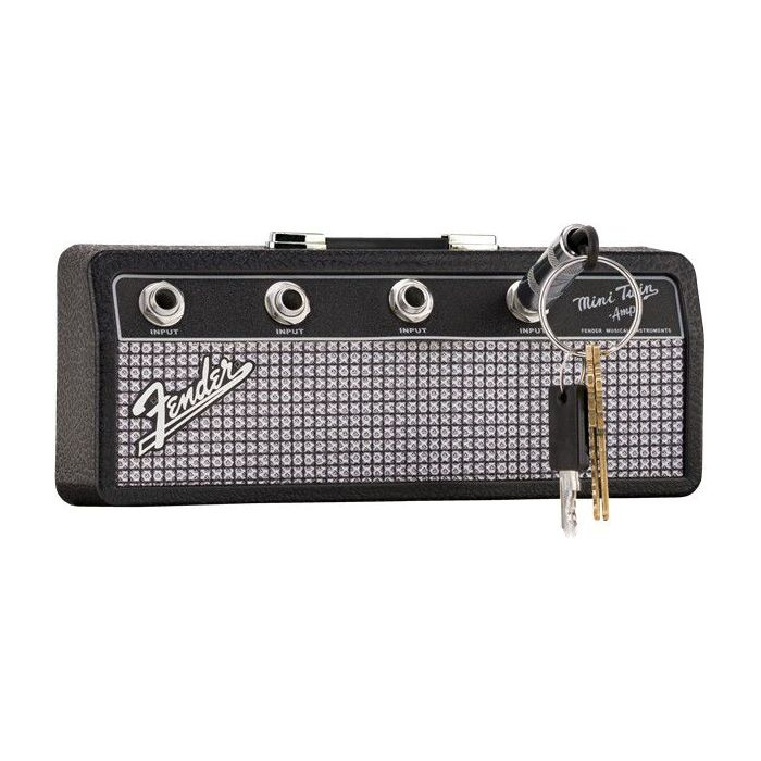 Angled view of a Fender Amp Keychain Holder with a key in place