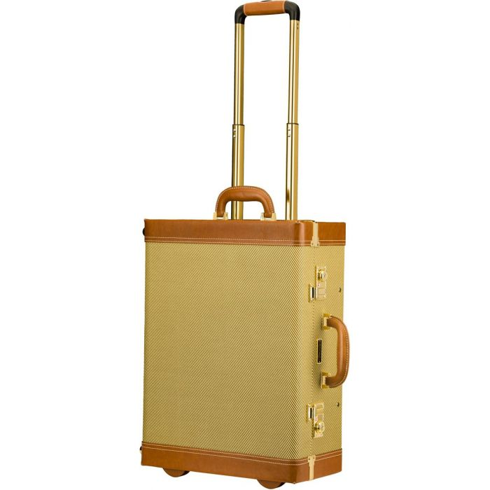 Full view of a Fender Tweed Rolling Luggage case