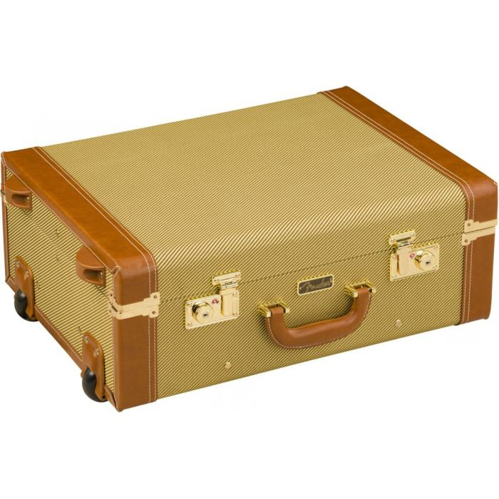 Closeup of a closed Fender Tweed Rolling Luggage case