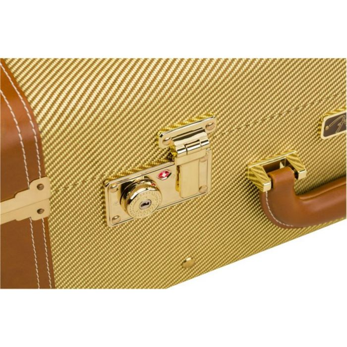 Closeup of the lock and latch on a Fender Tweed Rolling Luggage case