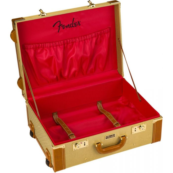 Full view of an open Fender Tweed Rolling Luggage case
