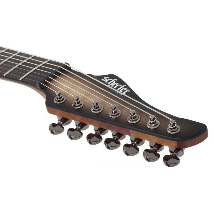 Closeup of the headstock on a Schecter Banshee Mach-7 Evertune 7-String Guitar in Ember Burst