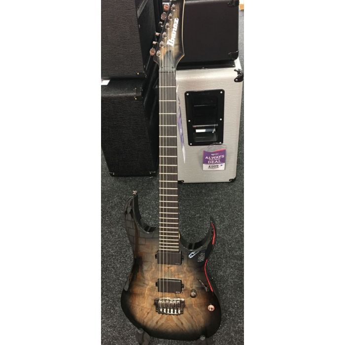 Full frontal view of a B-Stock Ibanez Ltd Edition RG Iron Label in Foggy Stained Black