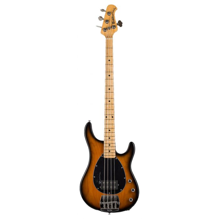 Full frontal view of a Music Man StingRay 4 PDN Bass, Vintage Tobacco Burst