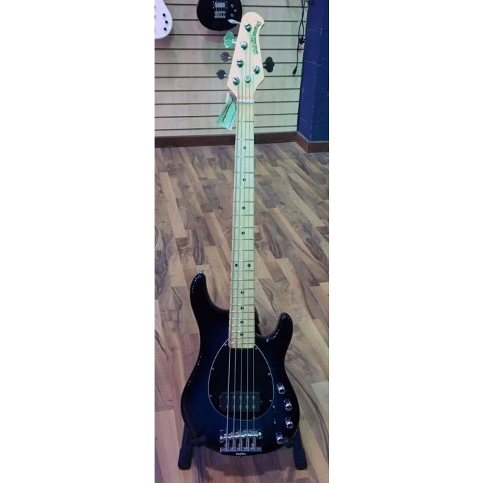 Full frontal view of a Music Man Sterling 5 MN 5-String Bass in Pacific Blue Burst