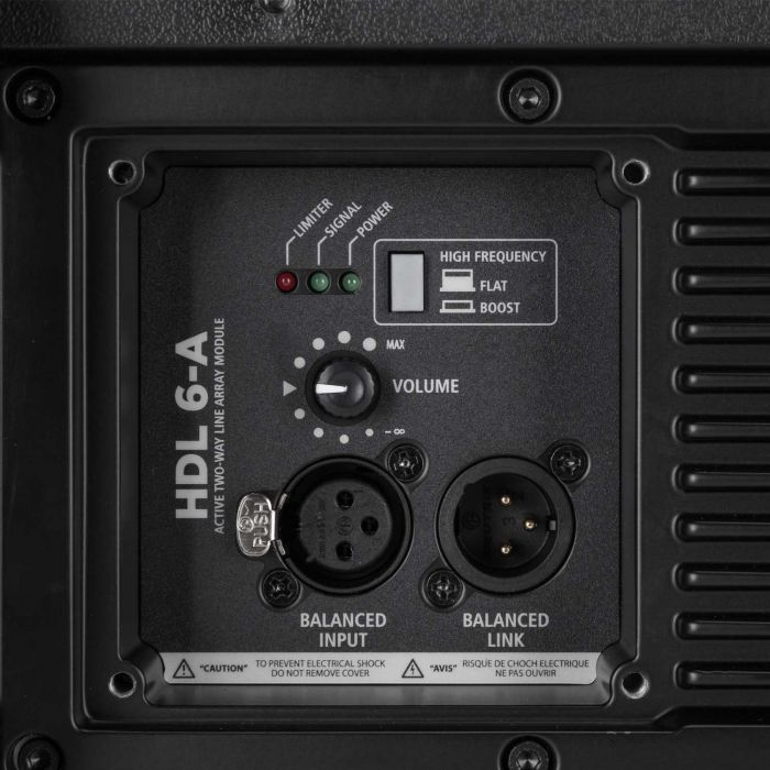 RCF HDL 6-A Active Line Array Speaker Connections and Controls