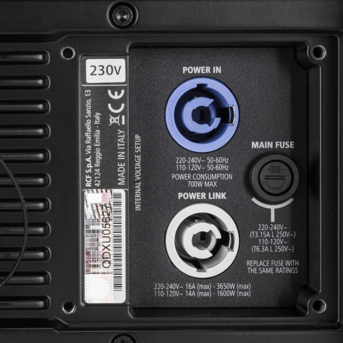RCF HDL 6-A Active Line Array Speaker Connections