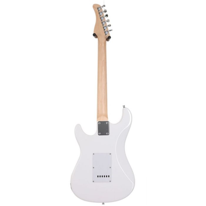 Full rear-side view of a Eastcoast GS100H-AWT HSS Electric Guitar Arctic White