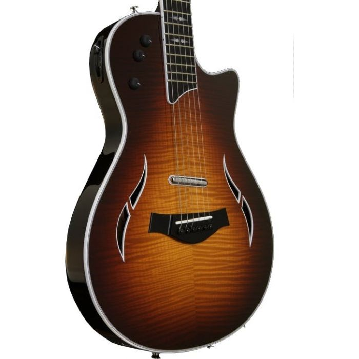 View of Taylor T5z Pro Tobacco Sunburst Angled Front Body
