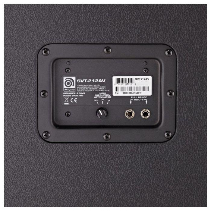Closeup of the inputs panel on an Ampeg SVT-212AV Bass Cabinet