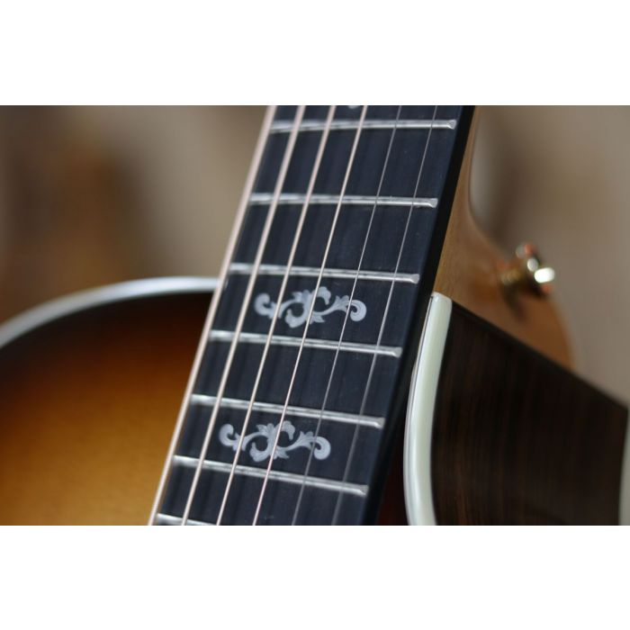 Detailed view of the fretmarkers on a Taylor 414ce Ltd V-Class Special Edition Sunburst