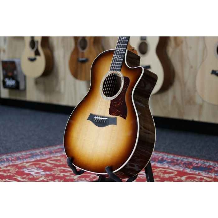 right angled view of a Taylor 414ce Ltd V-Class Special Edition Sunburst