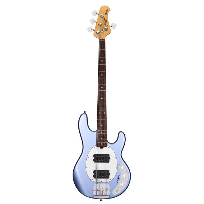 Full front view of a Sterling By Music Man SUB Series Ray4HH Bass, Lake Blue Metallic