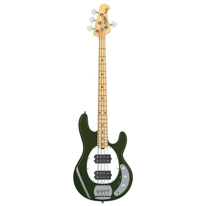 Full frontal view of a Sterling By Music Man SUB Series Ray4HH Bass, Olive Green