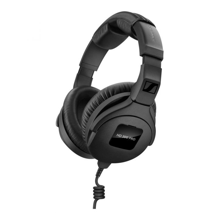 Front angled view of a Sennheiser HD 300 PRO Monitoring Headphones set