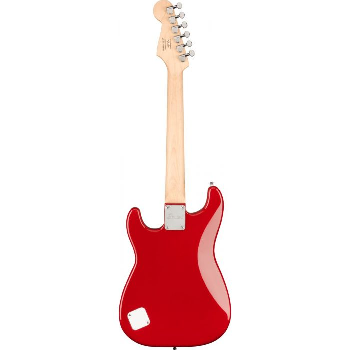 Back of Squier Mini Stratocaster Dakota Red Electric Guitar