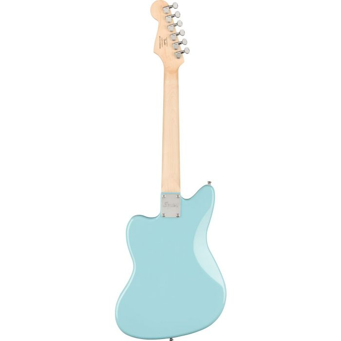 Back of Squier Mini Jazzmaster HH Daphne Blue Electric Guitar