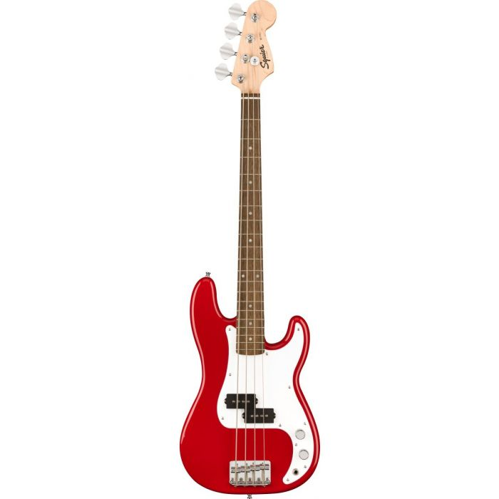 Full frontal view of a Squier Mini Precision Bass, Dakota Red