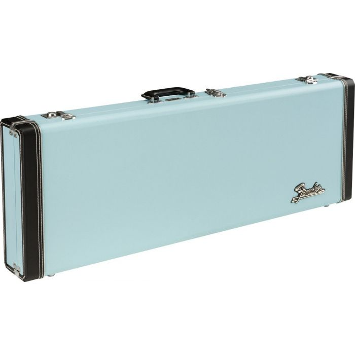 Full view of a Fender Classic Series Wood Case for Strat or Tele, Sonic Blue
