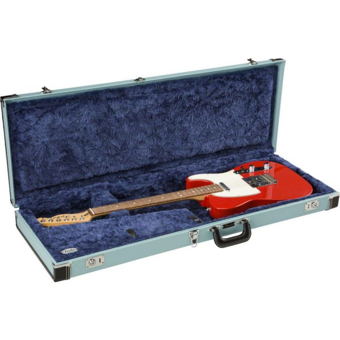Open Fender Classic Series Wood Case for Strat or Tele, Sonic Blue with a Telecaster inside