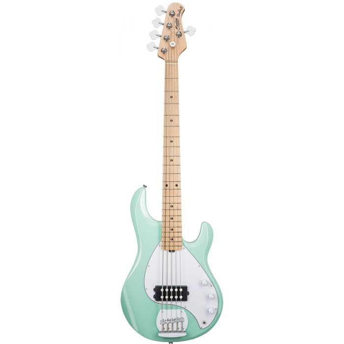 Full frontal view of a Sterling By Music Man SUB Ray5 5-String Bass, Mint Green