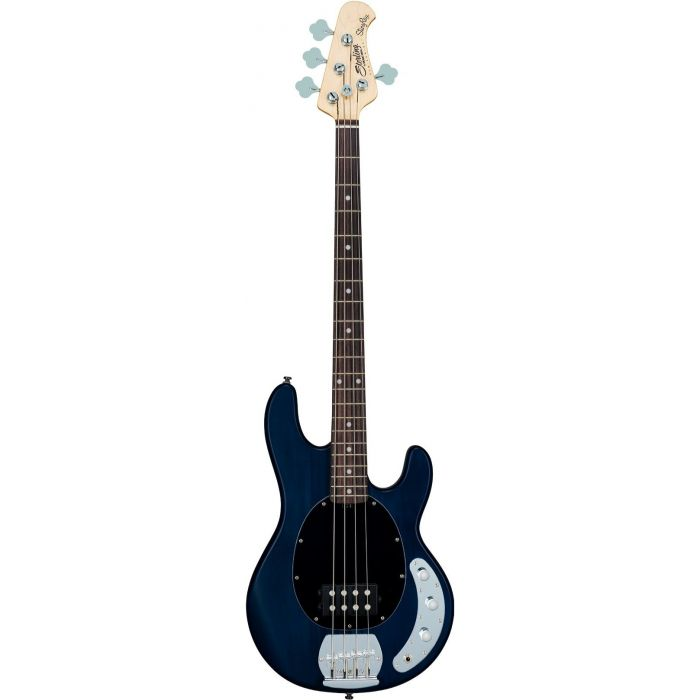 Full front view of a Sterling by Music Man S.U.B Ray4 Bass Translucent Blue