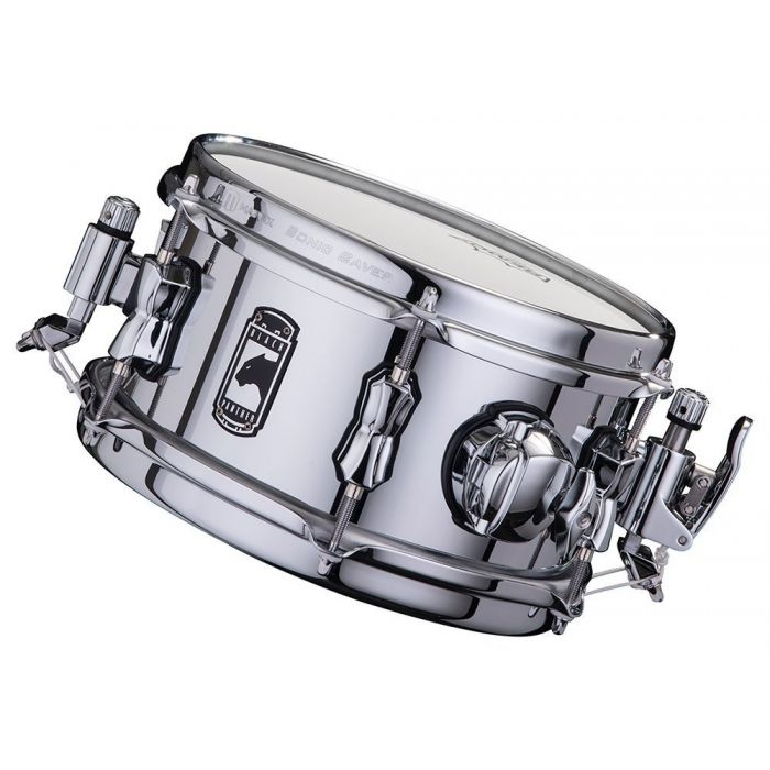 Front angled view of a Mapex Black Panther Wasp Snare Drum