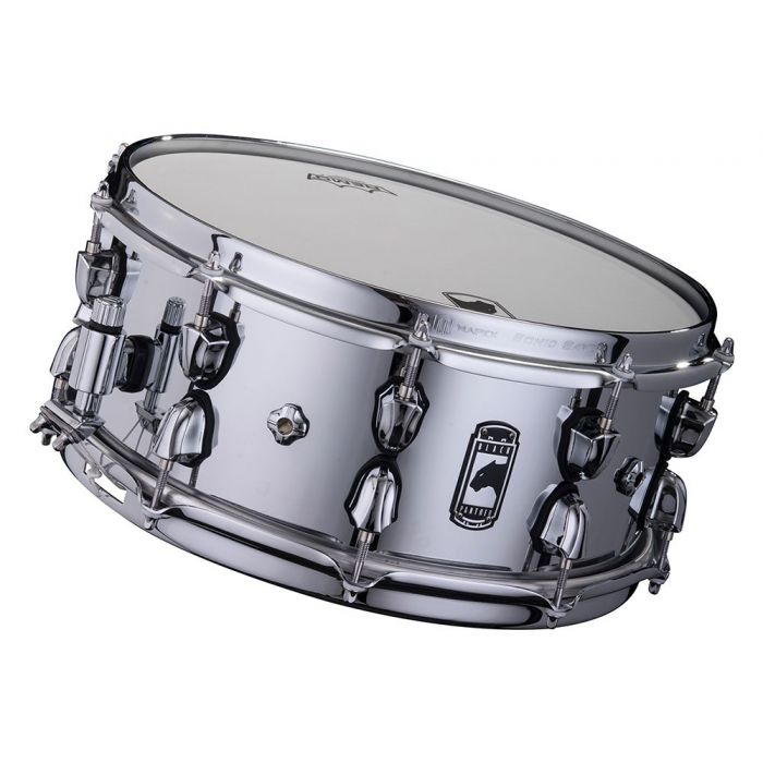 Front tilted view of a Mapex Black Panther Cyrus 14x6 Inch Snare Drum