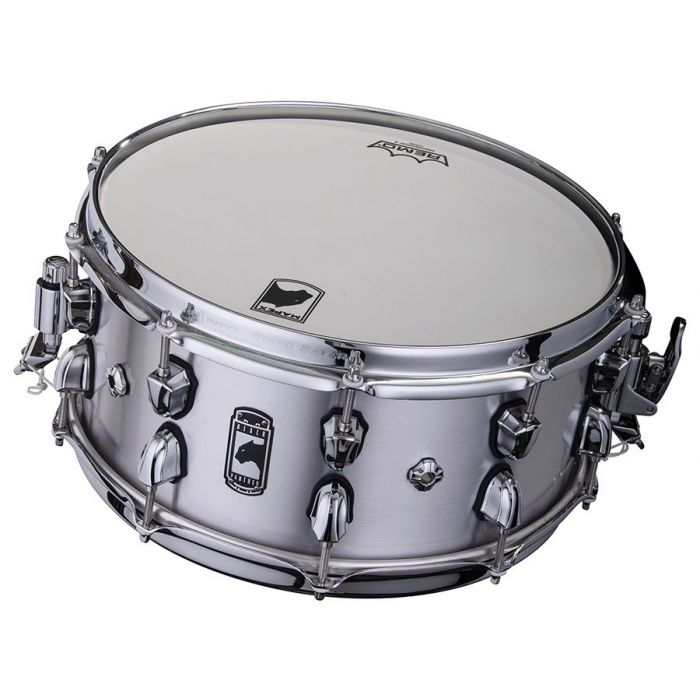 Front tilted view of a Mapex Black Panther Atomizer Aluminium Snare