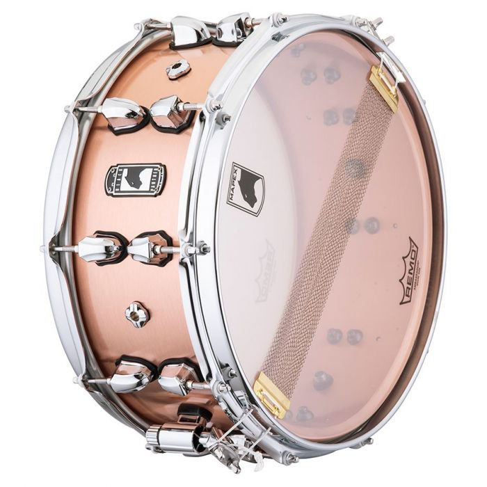 Underside view of a Mapex Black Panther Predator Copper Snare