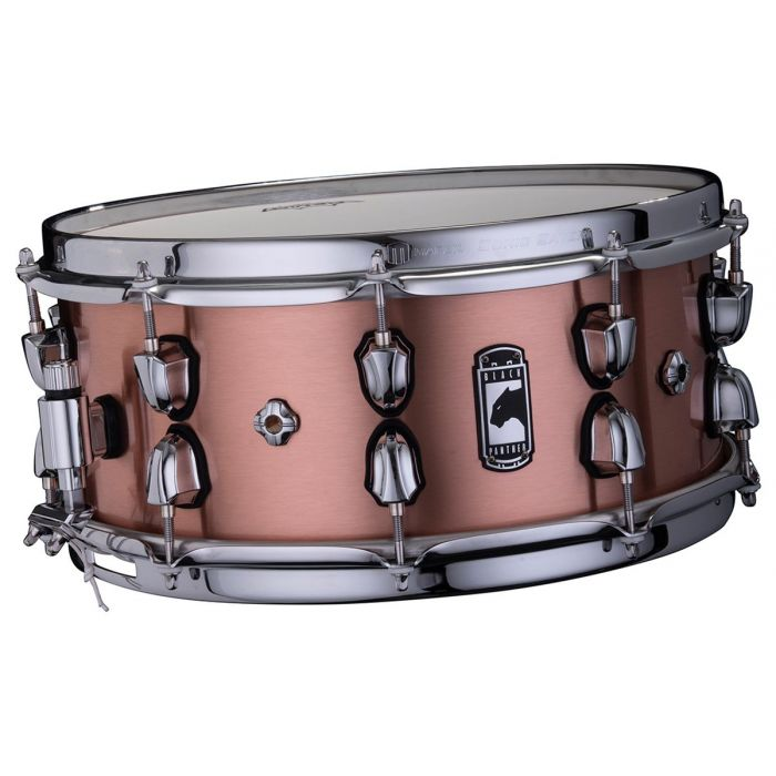 Front tilted view of a Mapex Black Panther Predator Copper Snare
