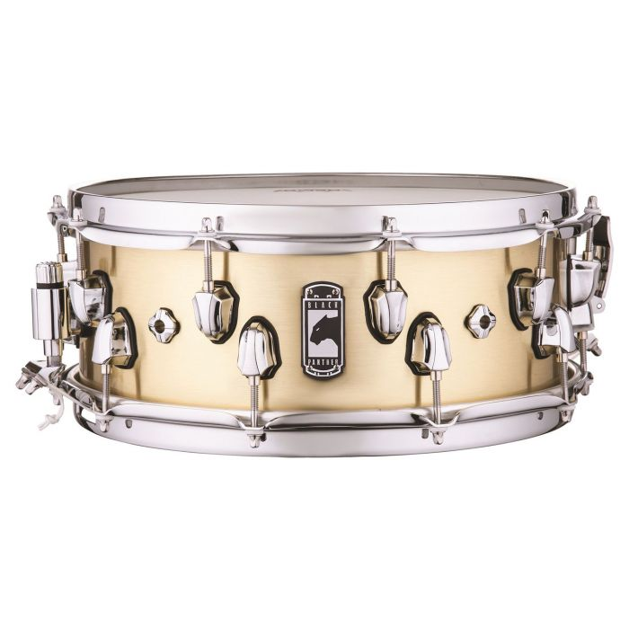 Full view of a Mapex Black Panther Metallion Brass Snare
