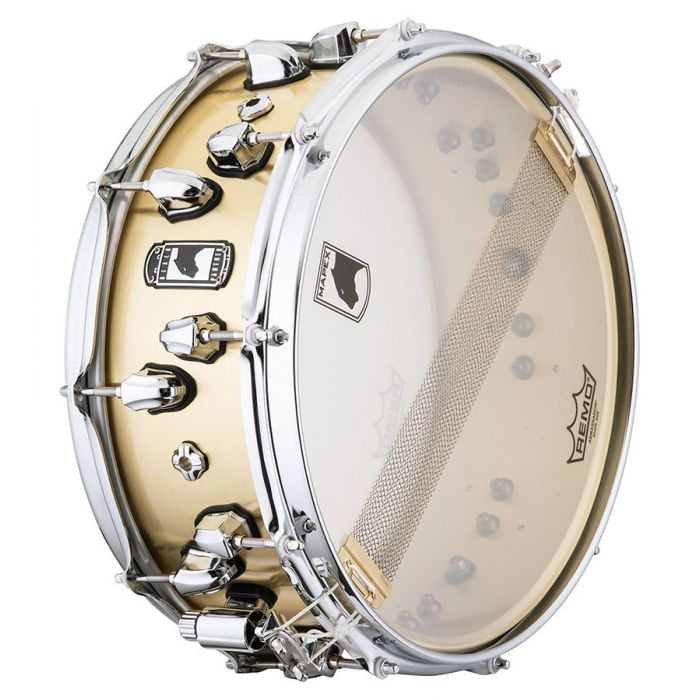 Underside view of a Mapex Black Panther Metallion Brass Snare