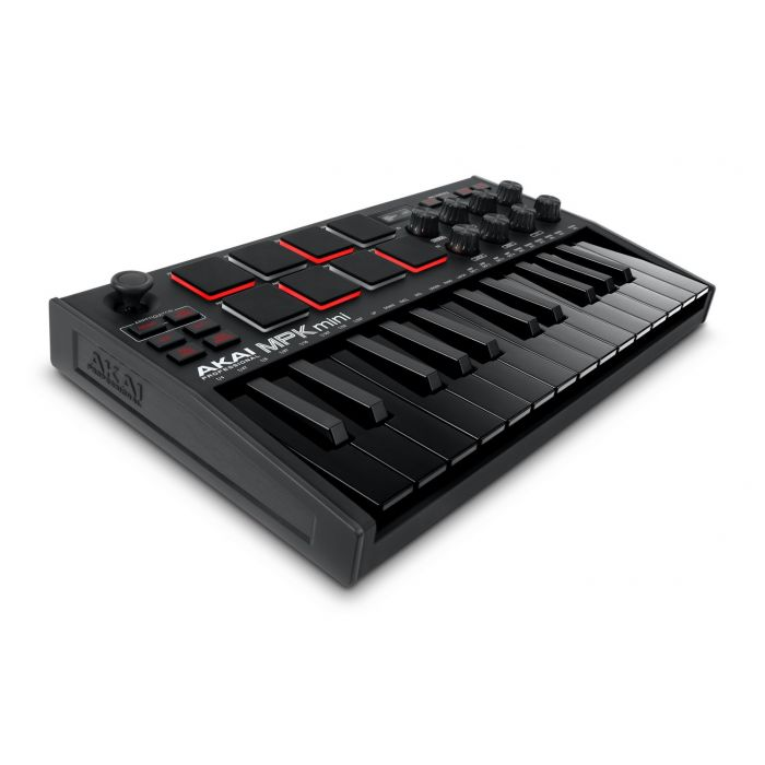 Right-angled view of an Akai MPK Mini 3 Black MIDI Keyboard