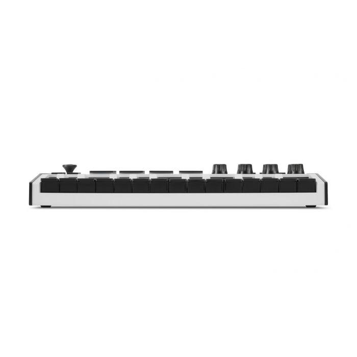 Front view of an Akai MPK Mini 3 White MIDI Keyboard