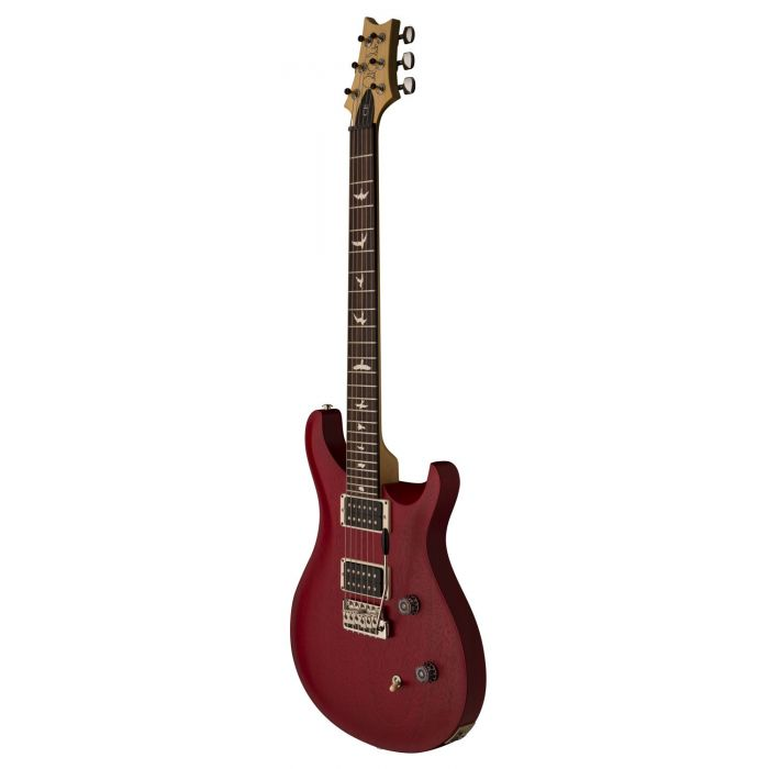 Front right-angled view of a PRS Ltd Edition CE24 Standard Satin Vintage Cherry