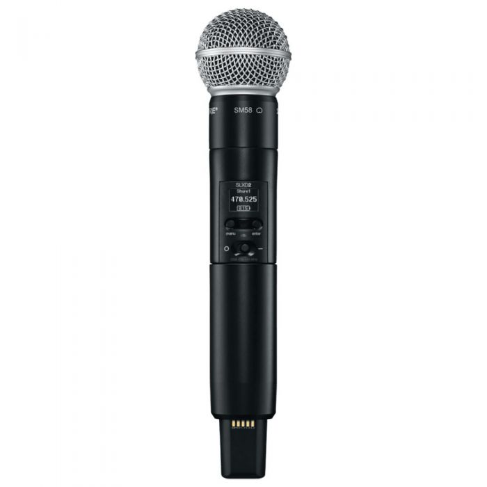 Front-on view of a Shure SLX-D2 Wireless Transmitter SM58